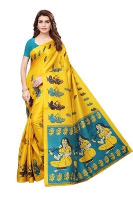 Dark yellow printed art silk sarees saree with blouse