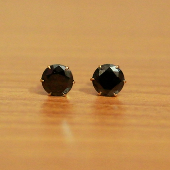 Black Cubic Zirconia Studs