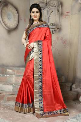 Red plain paper cotton saree with blouse