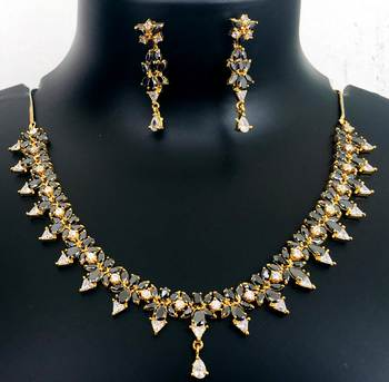 Cz American Diamond Necklace Earrings Set Gray Stone Gold Plated