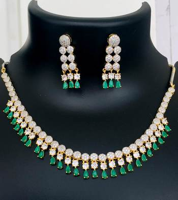 Cz American Diamond Necklace Earrings Set Green Stone Gold Plated