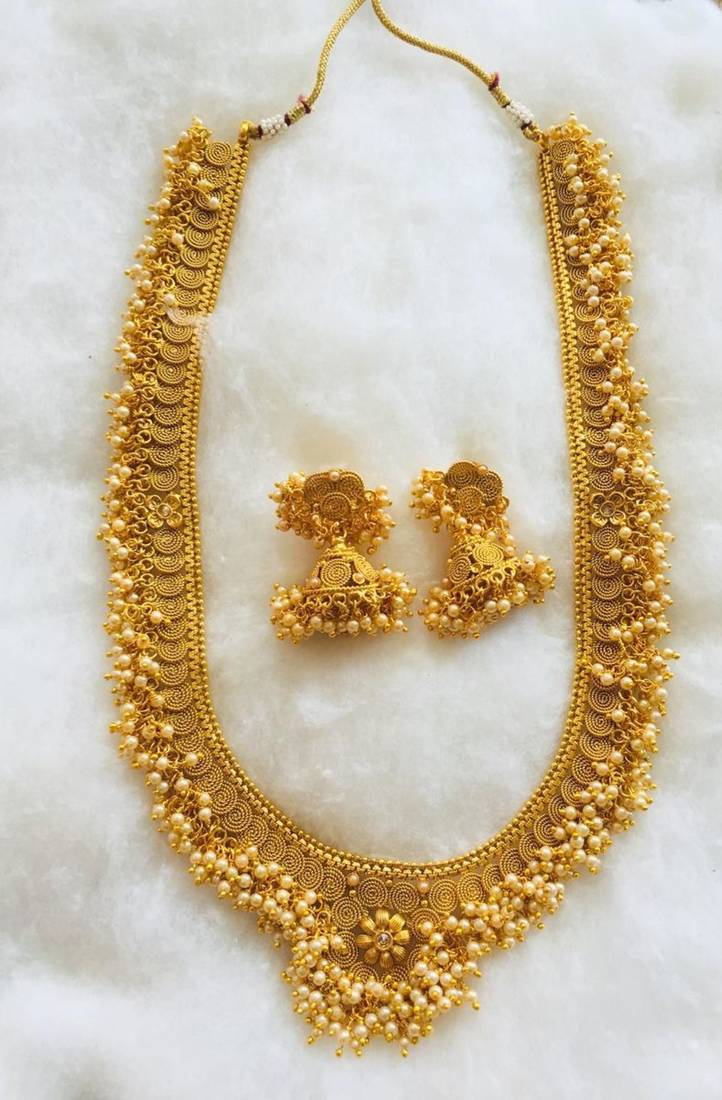 Temple Design Gold Plated Long Necklace Jhumka Earring Set