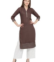 Brown embroidered rayon kurti with palazzo