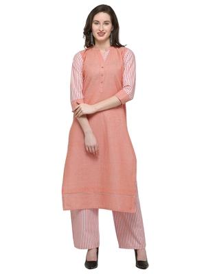 Orange printed cotton kurti with palazzo