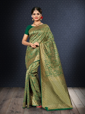 Green woven banarasi art silk saree with blouse