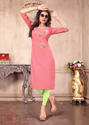Pink hand woven cotton long kurtis
