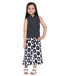 Black Printed Cotton Kid Shirt With Palazzo