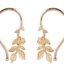 Rose Flower Leaves Cuff Earrings