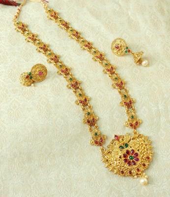 Lalso Designer Kempu Green Stone Gold Plated Long Haar Necklace Set - LSLGS03_KG