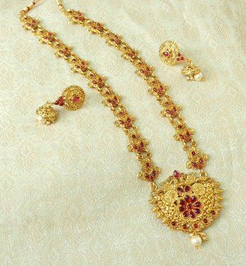 Lalso Designer Kempu Stone Gold Plated Long Haar Necklace Set - LSLGS03_KP