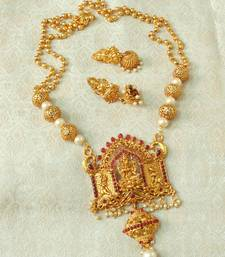 Lalso Designer Temple Jewelry Kempu Long Laxmi Pendant Set Lslps03 Kp