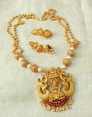 Lalso Designer Temple Jewelry Kempu Green Long Laxmi Pendant Set - LSLPS04_KG