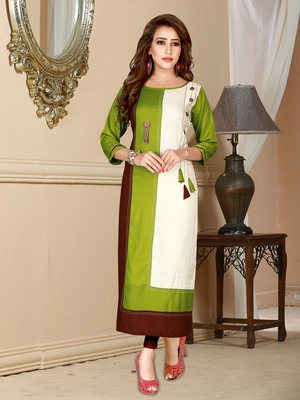 Light-green printed rayon ethnic-kurtis