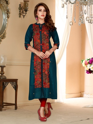 Multicolor printed rayon ethnic-kurtis