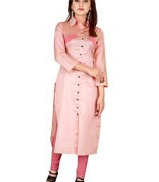 Baby-pink plain rayon ethnic-kurtis