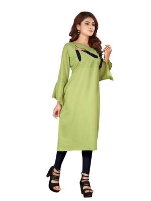 Light-green plain rayon ethnic-kurtis
