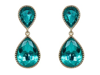 Green Dual Droplet Drop Earrings
