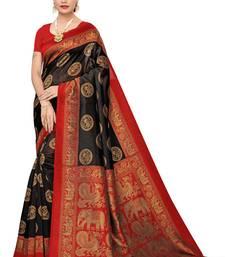 Black printed cotton silk saree with blouse