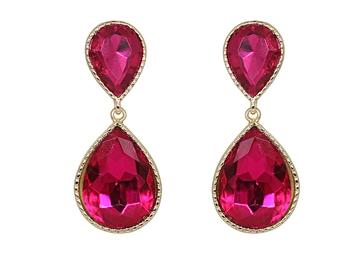 Pink Dual Droplet Drop Earrings