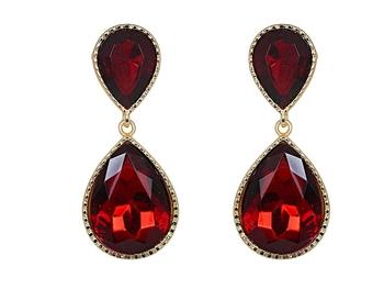 Maroon Dual Droplet Drop Earrings