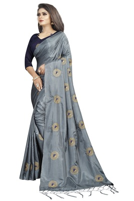 Dark grey embroidered art silk sarees saree with blouse