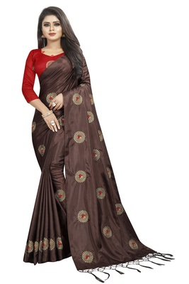 Dark coffee embroidered art silk sarees saree with blouse