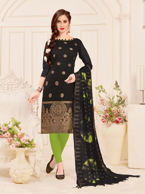 Black weaved banarasi cotton salwar
