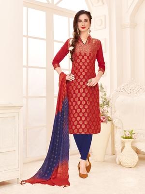 Red Weaved Banarasi Cotton Salwar