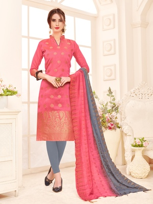 Pink Weaved Banarasi Cotton Salwar