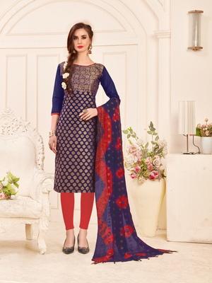 Navy-Blue Weaved Banarasi Cotton Salwar