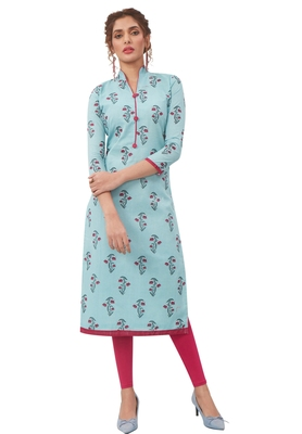Women's Sky Blue & Pink Cotton Printed Straight Fit Readymade Kurta