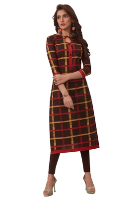 Women's Brown & Red Cotton Printed Straight Fit Readymade Kurta