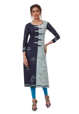 Women's Navy Blue & Light Blue Cotton Printed Straight Fit Readymade Kurta