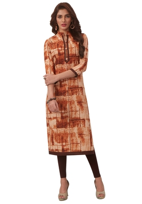Women'S Brown Cotton Printed Straight Fit Readymade Kurta