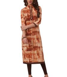 Women's Brown Cotton Printed Straight Fit Readymade Kurta