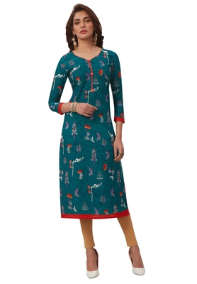 Women's Turquoise & Red Cotton Printed Straight Fit Readymade Kurta