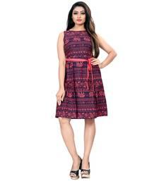 Red American Crepe Animal Print Partywear Western Dress