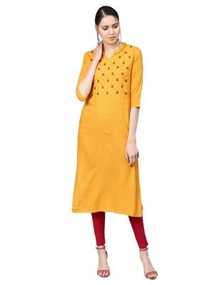 Yellow Rayon Cotton Embroidered Kurta