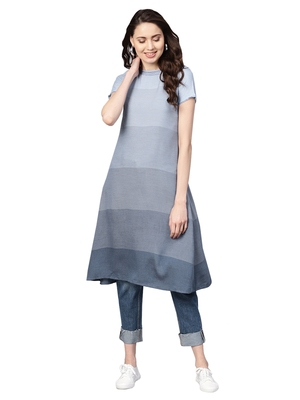 Blue & Green Rayon Cotton Striped Kurta