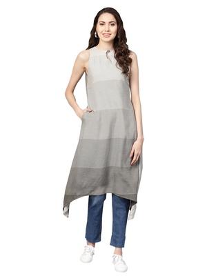 Beige & Green Rayon Cotton Striped Kurta