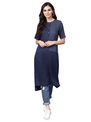 Navy Blue Rayon Cotton Striped Kurta
