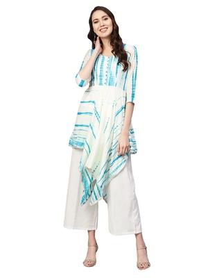 Blue & Beige Art Silk Tye & Dye Kurta