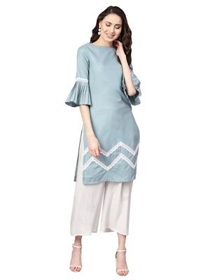 Blue Cotton Textured Kurta