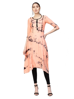 Peach Art Silk Tye & Dye Kurta