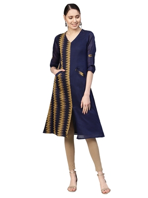 Navy Blue & Brown Chanderi Cotton Woven Kurta