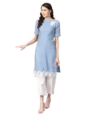 Blue Cotton Anarkali Kurta