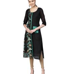 Black & Green Chanderi Cotton Woven Kurta