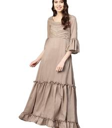 Brown Art Silk Anarkali Kurta