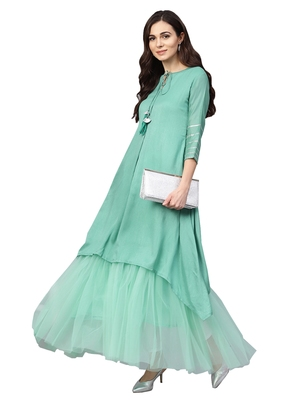 Sea Green Art Silk Anarkali Kurta