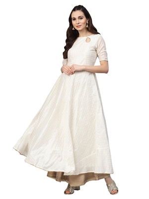 Off White Chanderi Cotton Anarkali Kurta
